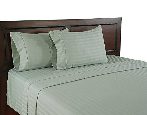 Color Sense Wrinkle Free Egyptian Cotton 310 Thread Count Satin Stripe Sheet Set, Full, - Cotton 310 Egyptian Thread