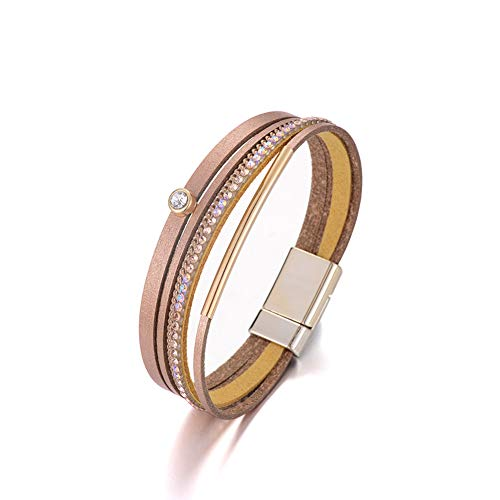 Multilayer Leather Bracelet Handmade Crystal Wrap Bangle with Magnetic Clasp Leather Wrap Bracelet Bohemian Jewelry Gift for Women and Girl (Champagne Leather&Copper - Champagne Pipe