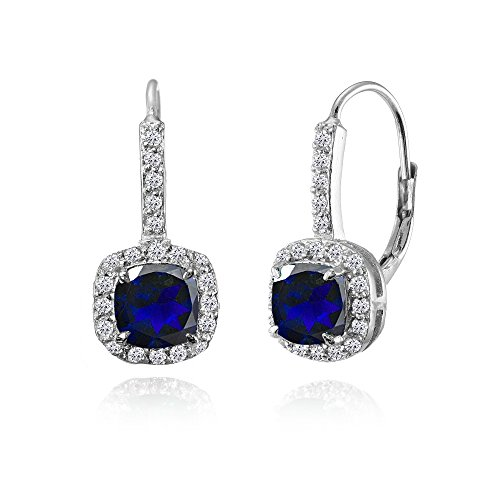 Sterling Silver Created Blue Sapphire & White Topaz Cushion-cut Leverback Earrings