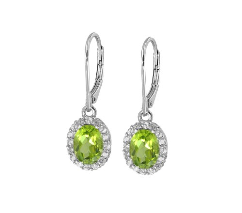 Oval Peridot Halo Leverback Earrings