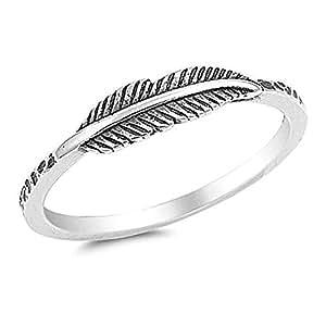Women Vintage Jewelry Silver Leaf Rings Size 7