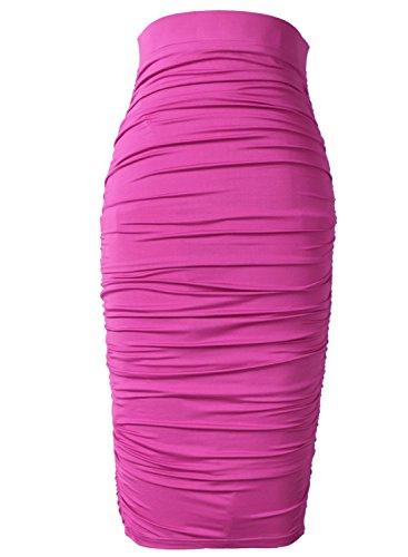 d731d6d94b VfEmage Womens Elegant Ruched Frill Ruffle High Waist Pencil Mid-Calf Skirt  9369 HPIK 12