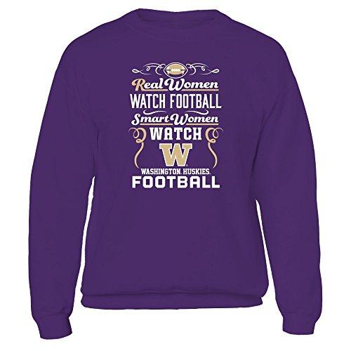 Real Women Watch Football, Smart Women Watch - Washington Huskies - Gildan Fleece Crew - Officially Licensed Fashion Sports (Washington University Watch)