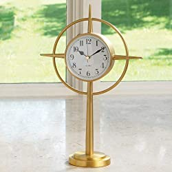 Global Views Mid Century Modern Brass Gold Star Clock | Retro Compass Table Desk Round White
