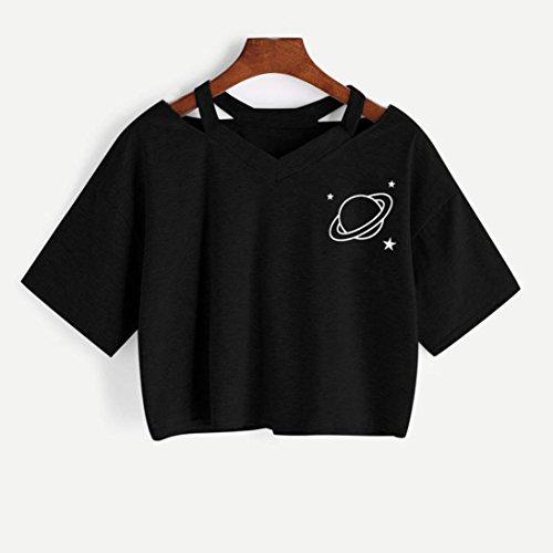 Sweat LuckyGirls Shirt Imprim Femme Courte PgcwqBwd0
