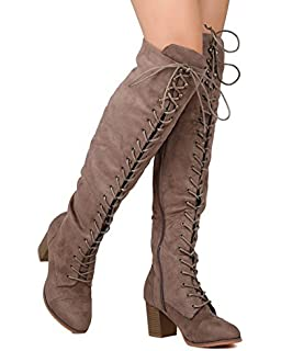a29af5be6d1c Nature Breeze Women Faux Suede Over The Knee Lace Up Chunky Heel Combat Boot  FI01