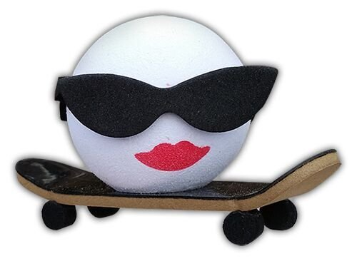Cool Halfpipe Hottie Skateboard Sunglasses Car Antenna Topper + Yellow Smiley Antenna Topper ()