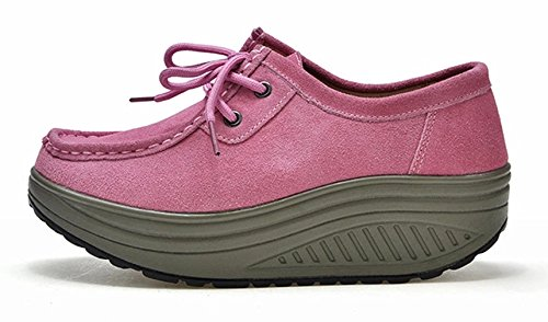 Solshine Womens Suede Leather Platform Wedge Heel Outdoor Casual Shoes Rosa