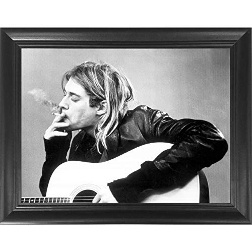 Kurt Cobain Smoking Nirvana 3D Poster Wall Art Decor Framed Print | 14.5x18.5 | Lenticular Posters & Pictures | Memorabilia Gifts for Guys & Girls Bedroom | Guitar Black & White Rock and Roll Picture]()