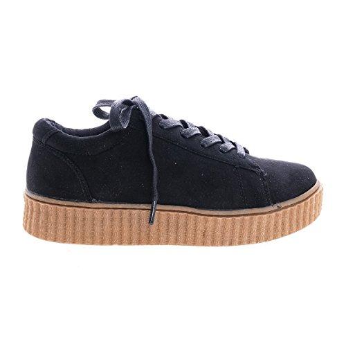 Classici Allacciati A Punta Tonda Con Sneaker A Coste Nere Nervate