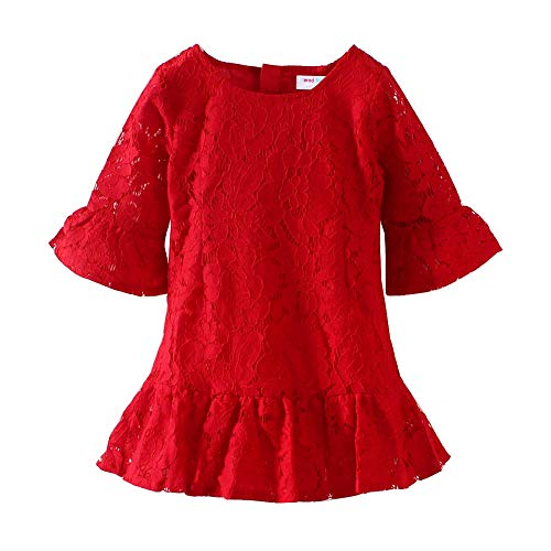- Mud Kingdom Baby Girl Lace Dress Red Eyelet Flare Sleeve 18-24 Months