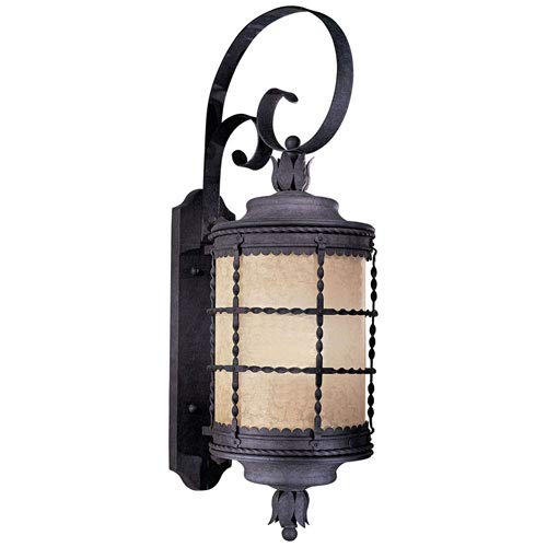 Mill & Mason Kingswood Iron 34-Inch One-Light Fluorescent Outdoor Lantern Wall Sconce with French Scavo Glass ()