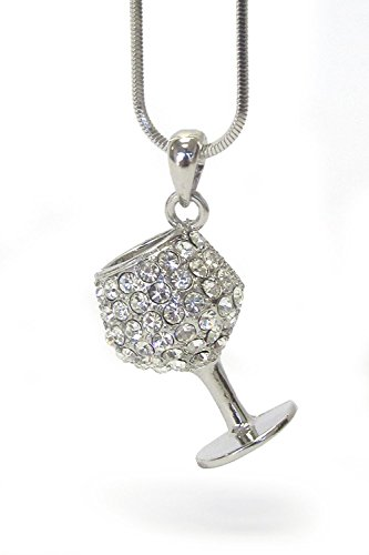 Lola Bella Gifts Crystal 3D Wine Glass Pendant Necklace with Gift Box