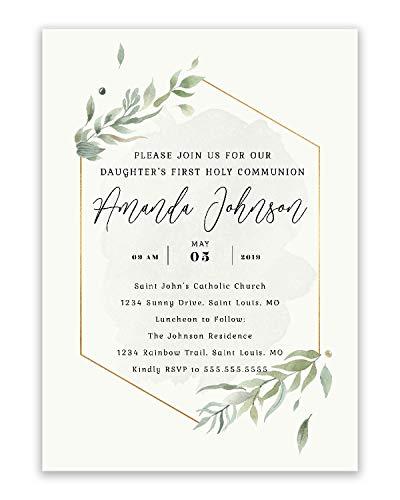 (Foliage First Communion | Religious Personalized | Invitations)