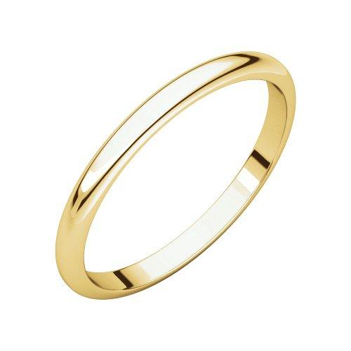 (18K Yellow Gold 2mm Half Round Bridal Wedding Ring Band Size)