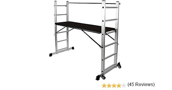 Jago escalera multifunción de aluminio con plataforma de trabajo Andamio con ruedas: Amazon.es: Bricolaje y herramientas