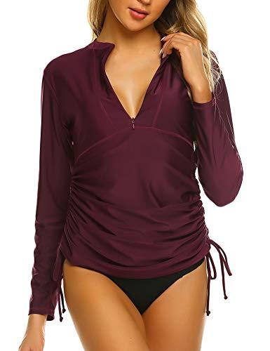 Sheshow Womens Long Sleeve Rash Guard Swimsuit SPF Shirts UV Surf Top Swimwear Wineberry - Sleeve Long Zip Top Pullover