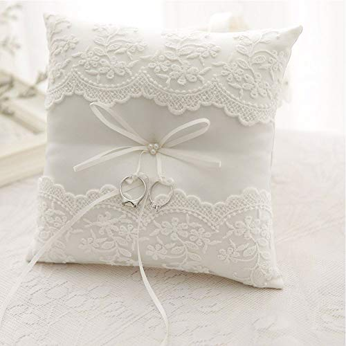 - Yooha Wedding Ring Pillow Cushion Elegant Embroidered Satin Lace Ivory White Ring Pillow with Bow Decor Ring Bearer Hoder, 20x20cm(White)