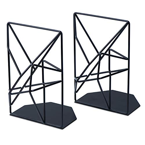 SRIWATANA Bookends Black, Decorative Metal Book Ends Supports for Shelves, Unique Geometric Design(1 Pair)