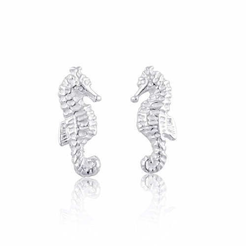Sterling Silver Small SeaHorse Stud Earrings 12mm by SilverCloseOut