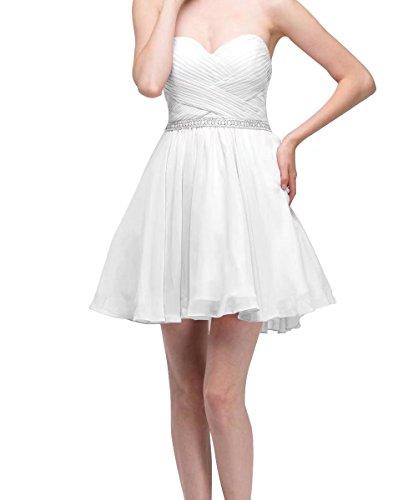 Ainidress Courtes Robes De Mariée Bustier Cocktail Robe De Soirée De Demoiselle D'honneur Blanc
