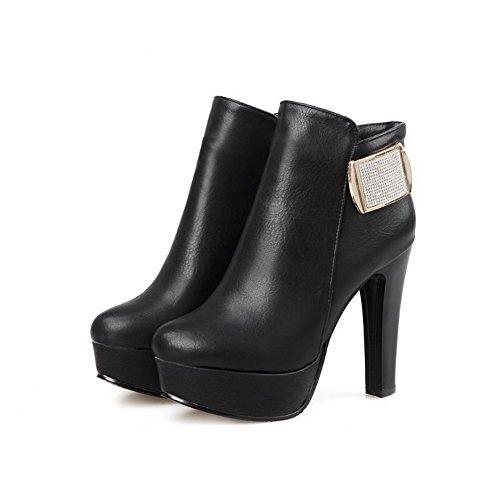 AgooLar Damen Knöchel Hohe Rein Hoher Absatz Blend-Materialien Rund Zehe Stiefel, Schwarz, 36