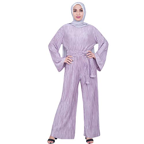 - Jumpsuit Wide Leg Pants Romper Women Ramadan Muslim Islamic Kaftan Vintage Abaya Purple