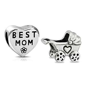 Bling Jewelry 925 Plata Mejor Mamá Corazón Carro Del Bebé Conjunto Encaja Abalorio