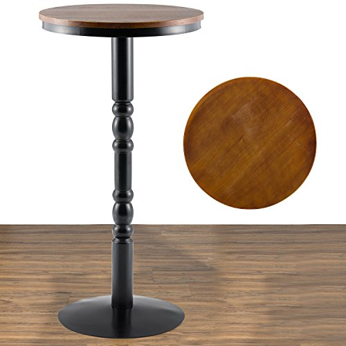 URANMOLE Wood Round Pub Bar Table Cocktail Table Pedestal Table – Kitchen Dining Room Bist ...