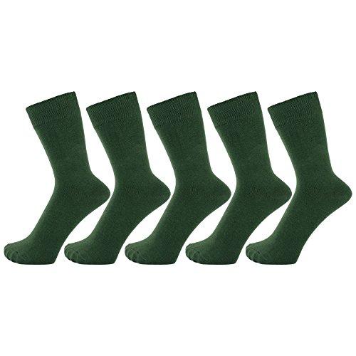 (ZAKIRA Finest Combed Cotton Dress Socks in Plain Vivid Colours for Men, Women - Pack of 5 (Green, US)