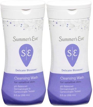 SUMMER'S EVE Feminine Wash for Sensitive Skin-Delicate Blossom-9 oz, 2 ct (Quantity of 2)