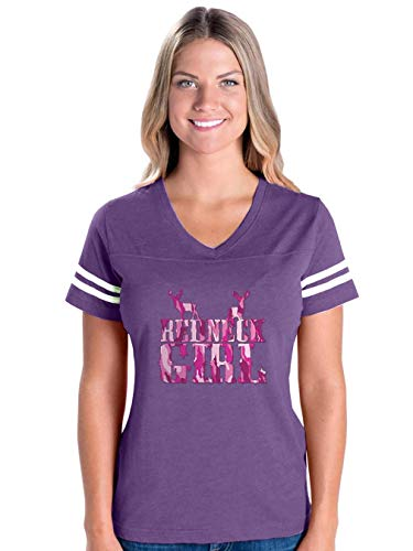 Girl in Pink Camo Women's Football V-Neck Fine Jersey Tee (XLP)