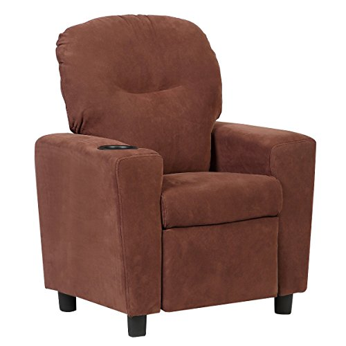 r Chair Children Reclining Sofa Seat Couch w/Cup Holder (Brown) ()