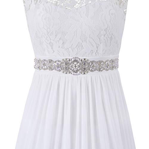 Maternity Bridal Dresses Party - PRETTYLIFE Ribbon Rhinestone Belt for Baby Shower Party Gown Maternity Dress Wedding Bridal Sash (Ivory)
