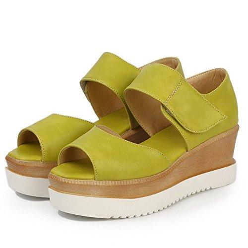 AllhqFashion Mujeres Velcro Plataforma Cuero Sólido Peep Sandalia Verde
