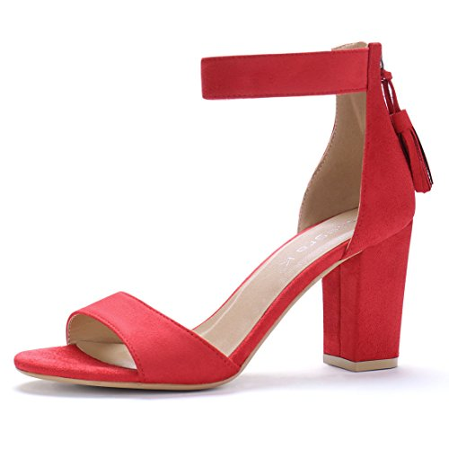 (Allegra K Women's Chunky High Heel Tassel Ankle Strap Red Sandals - 9 M US)