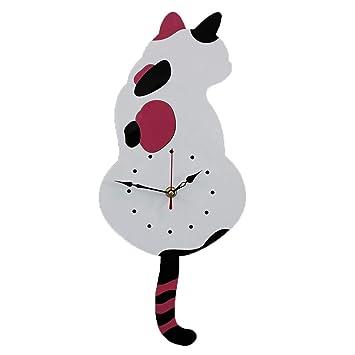 XJYA Acrilico Relojes de Pared Gato Columpio Silencioso Grandes Originales Cocina Decorativas Reloj de Pared silencioso de Cuarzo para la decoración del ...