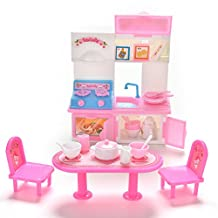 ASIV 20Pcs = 1 Set Kitchen Furniture for Barbie Dolls Pretend Role Play Toys, Dinner Table Cupboard Chair Sink House Kitchenware (Random Style)