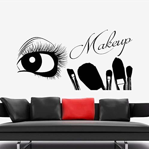 Pbldb Vinyl Wall Decal Eyelash Eye Makeup Artist Wall Sticker Brushes Beauty Salon Decor Wall Mural Eyelash Make Up Tools Decal 42X22Cm]()
