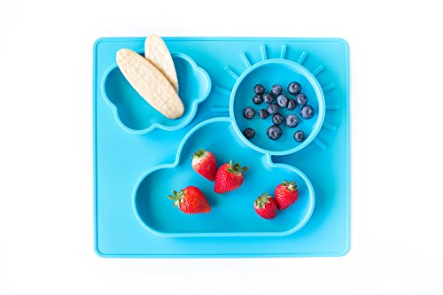 Baby Blue Silicone Baby Placemat + 3 Compartments Food Plate with Silicone Spoon - Large and Thick - Portable NonSlip Mat - Meal Prep for Feeding Babies and Toddlers - - Less Coupon Code Best And