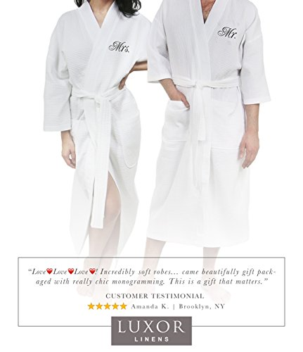 Luxor Linens Waffle Weave Spa Bathrobe - Ciragan Collection - Luxurious, Super Soft, Plush & Lightweight - 100% Egyptian Cotton, Made in Turkey (Mr./Mrs. With Gift Packaging) by Luxor Linens (Image #5)