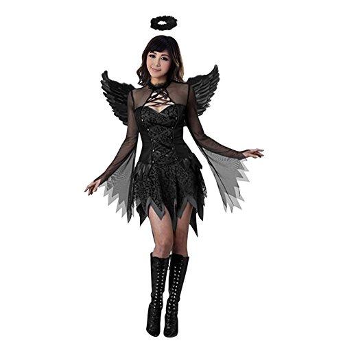 [Lisli Halloween Adult Costumes Dark Fallen Angel Cosplay Fancy Dress With Feather] (Fallen Angel Costume)