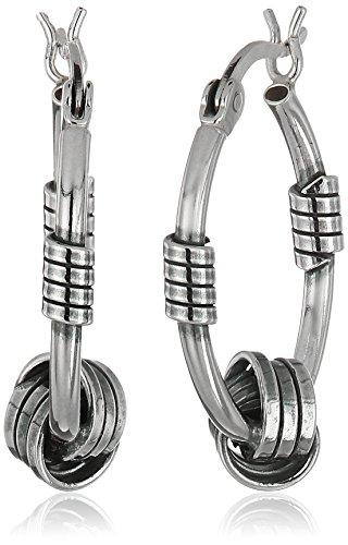 Sterling Silver Balinese Knot Hoop Earrings