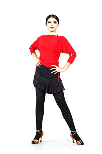 [Women's Tange Chacha Latin Salsa Ballroom Dance Tops (L, Red)] (Chacha Dance Costume)