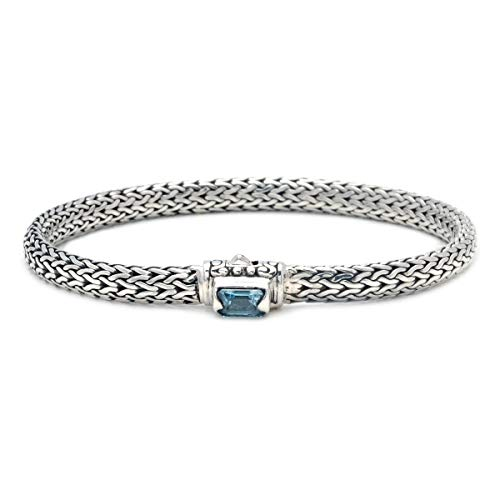 Deni Jewelry 925 Sterling Silver Bracelet with Chain Oval 3x5 MiliMeter (Blue-Topaz) ()