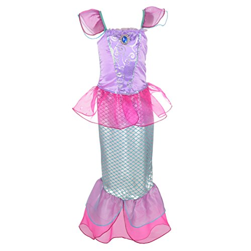 Pink Sequin Mermaid Costume (Dressy Daisy Girls' Princess Mermaid Fairy Tales Costume Cosplay Fancy Dress Party Outfit Size 4T Hot Pink)