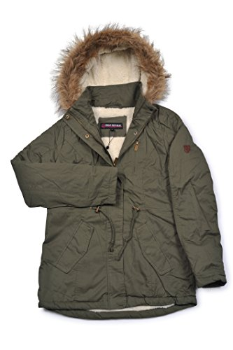 (8808) Urban Republic Womens 30 Inch Woobie Lined Washed Twill Anorak Jacket With Hood in Olive Size: L (Washed Twill Jacket)
