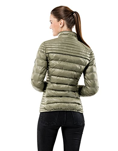 Ladies Warm Quilted Women's Fitted Slim Women Jacket Vincenzo Designer Soft Boretti Long Jacket Sleeve Elegant Lightweight Smart Padded Olive fit P6q5gw