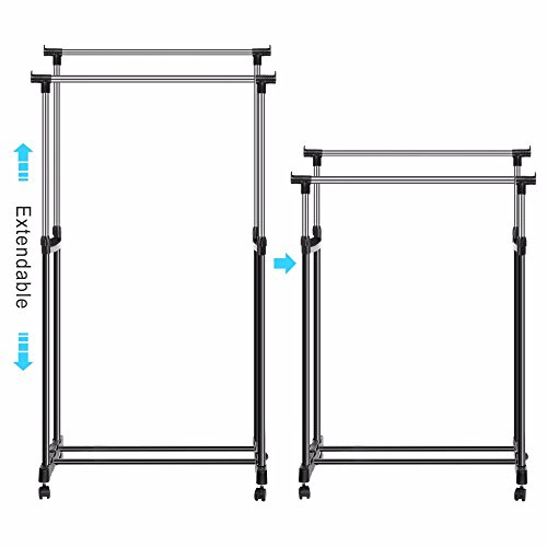 Clothes Rack Shoes Rack Double Portable Durable Organizer Display Clothes Extendable Width Hanging Garment Coat Adjustable Height