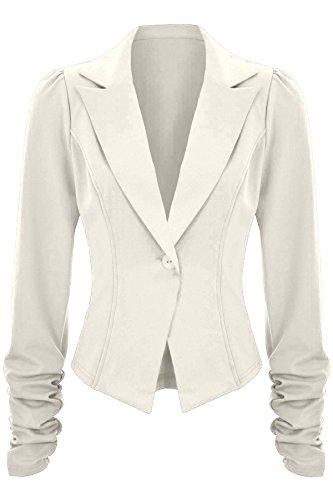 Sapphire TIENDA Mujer Acanalada Manga a Medida Corte Ajustado 6 Botón ACOLCHADO Oficina chaqueta americana Blanco